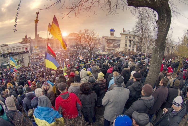 反对亲俄国乌克兰人的群众抗议追猎Presiden 免版税库存照片