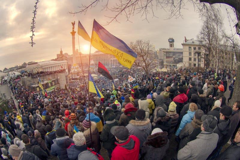 反对亲俄国乌克兰人的群众抗议追猎Presiden 库存图片