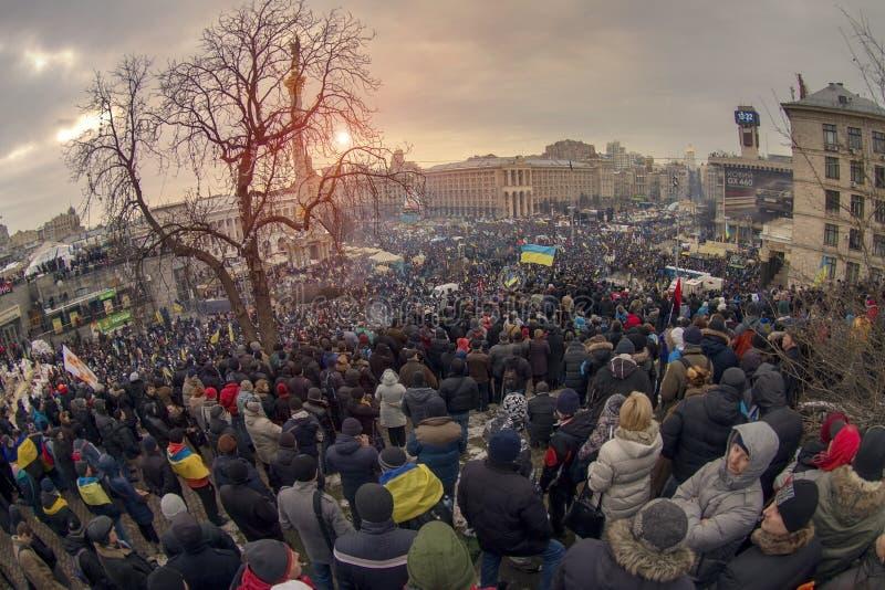 反对亲俄国乌克兰人的群众抗议追猎Presiden 免版税库存图片