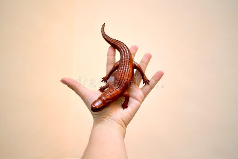 反对以用搪瓷打印在3d打印机和盖的鳄鱼的形式 库存照片