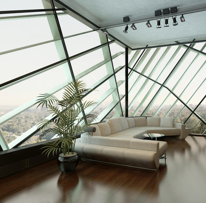 反对侈奢的设计窗口的米黄长沙发 库存例证