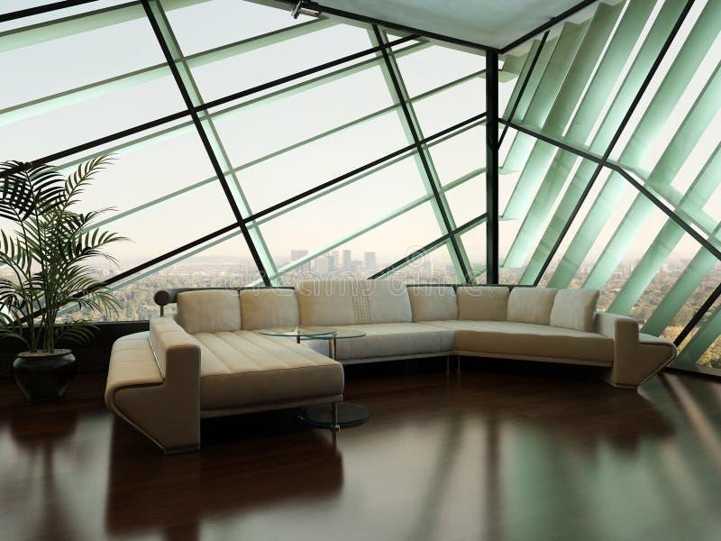 反对侈奢的设计窗口的米黄长沙发 向量例证
