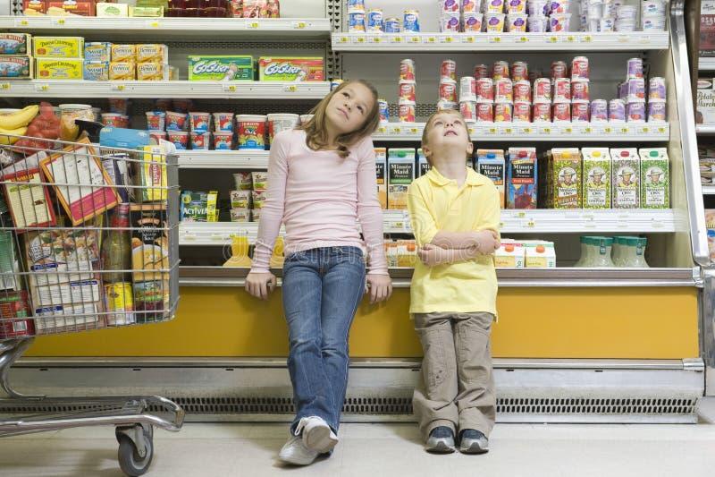 反对冰箱柜台的兄弟姐妹在超级市场 免版税库存图片
