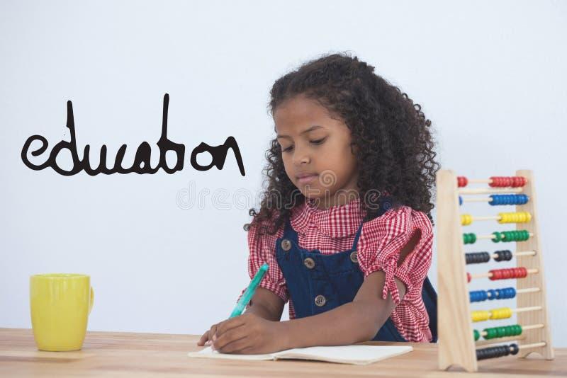 反对办公室孩子女孩文字背景的教育文本 向量例证