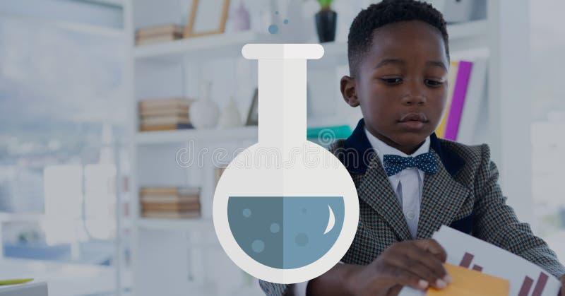 反对办公室孩子男孩背景的科学象 皇族释放例证