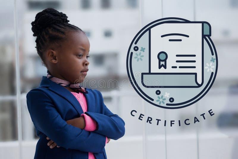 反对办公室的教育象哄骗女孩想法的背景 向量例证