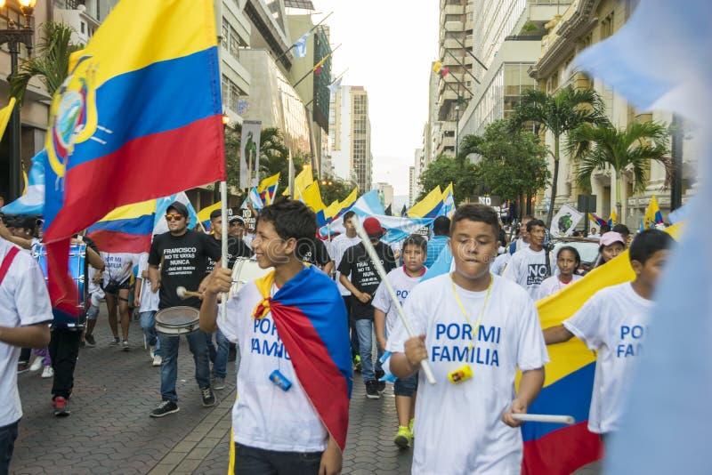 反对厄瓜多尔政府的抗议 免版税图库摄影