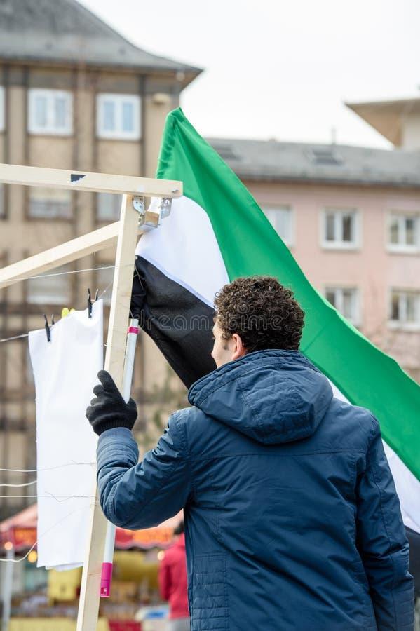 反对叙利亚战争的叙利亚犹太人散居地抗议 库存照片