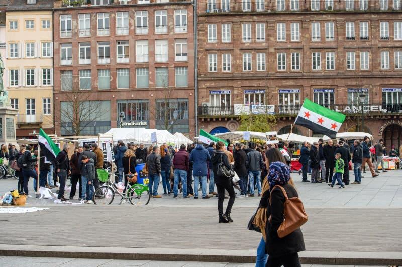 反对叙利亚战争的叙利亚犹太人散居地抗议 免版税库存图片