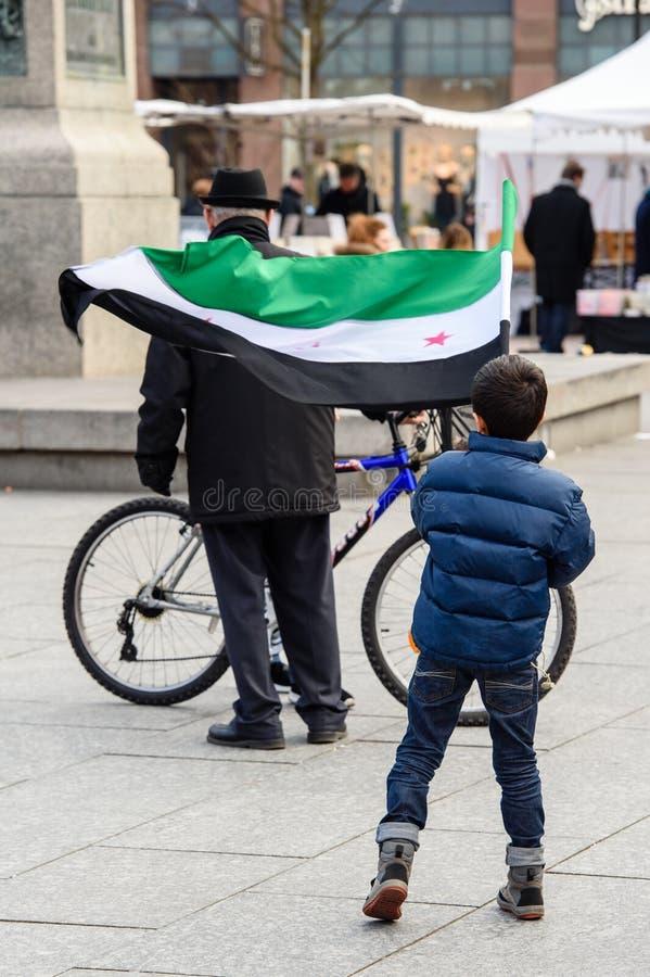 反对叙利亚战争的叙利亚犹太人散居地抗议 免版税库存照片