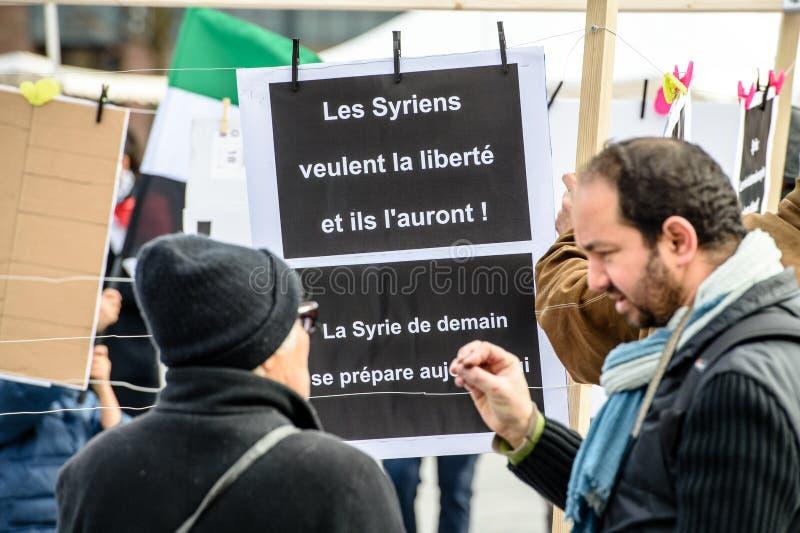 反对叙利亚战争的叙利亚犹太人散居地抗议 免版税图库摄影