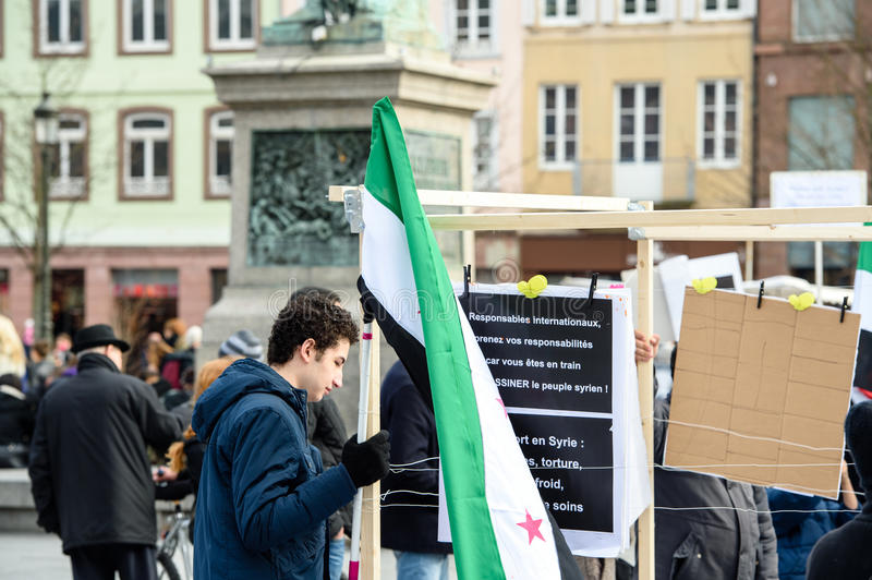 反对叙利亚战争的叙利亚犹太人散居地抗议 库存图片