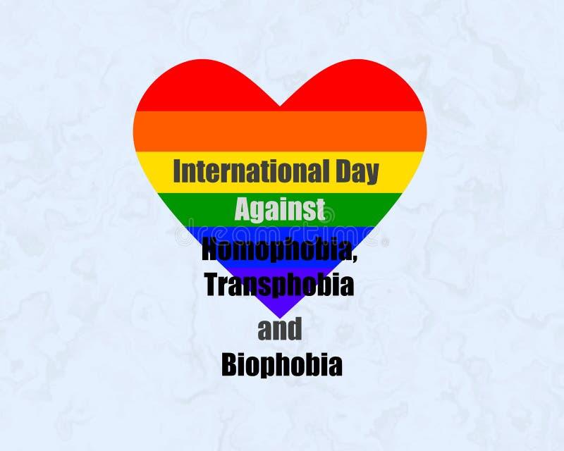 反对同性恋恐惧症、Transphobia和Biophobia的国际天 向量例证