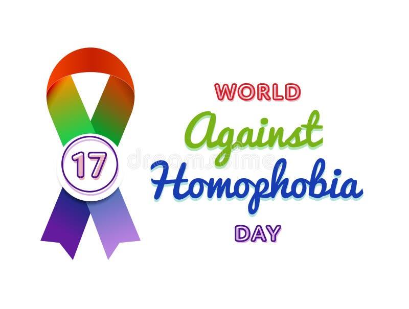 反对同性恋恐惧症天问候象征的世界 库存例证