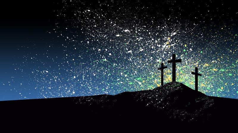 反对图表的基督徒十字架喷溅了蓝天背景 向量例证