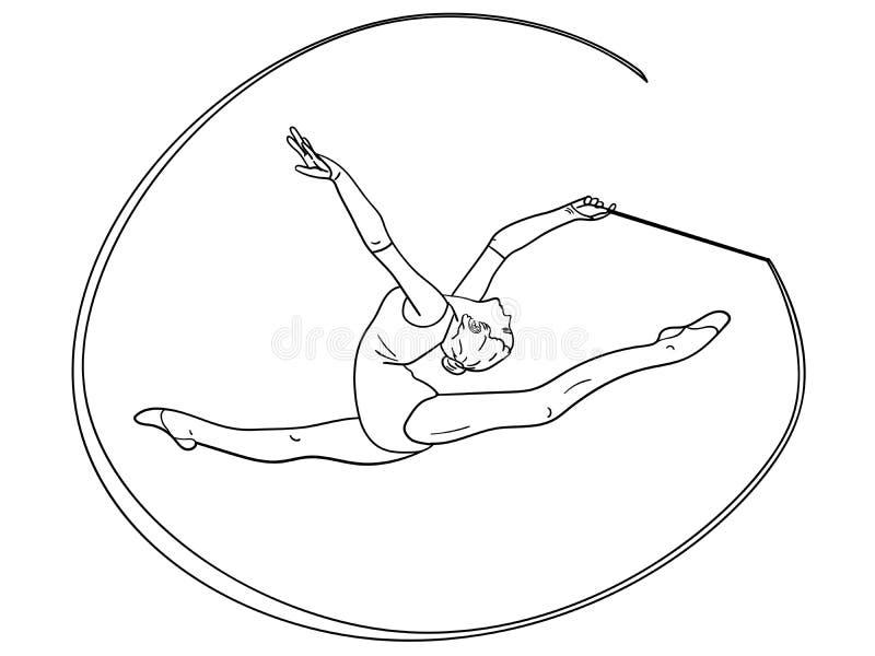 反对在白色背景节奏体操,有一条丝带的女孩在麻线 儿童上色 库存例证