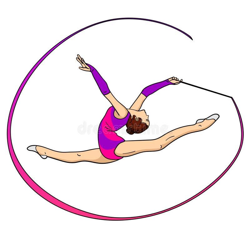 反对在白色背景节奏体操,有一条丝带的女孩在麻线 背景有色种人音乐向量 皇族释放例证