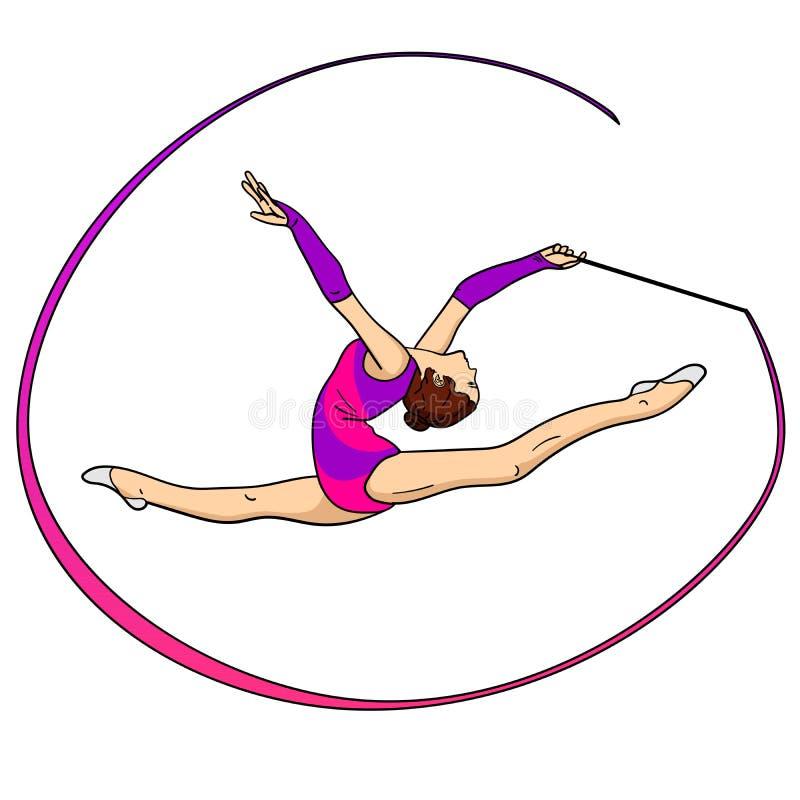 反对在白色背景节奏体操,有一条丝带的女孩在麻线 背景有色种人音乐向量 库存例证