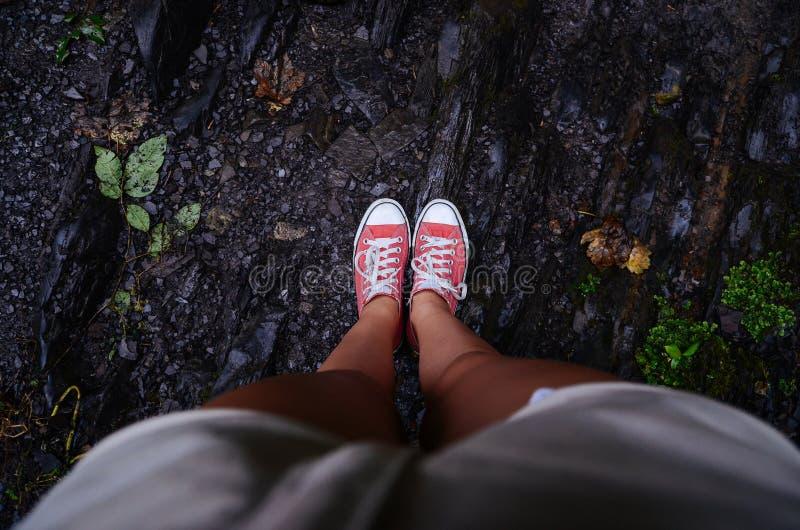 反对地面的腿 库存照片