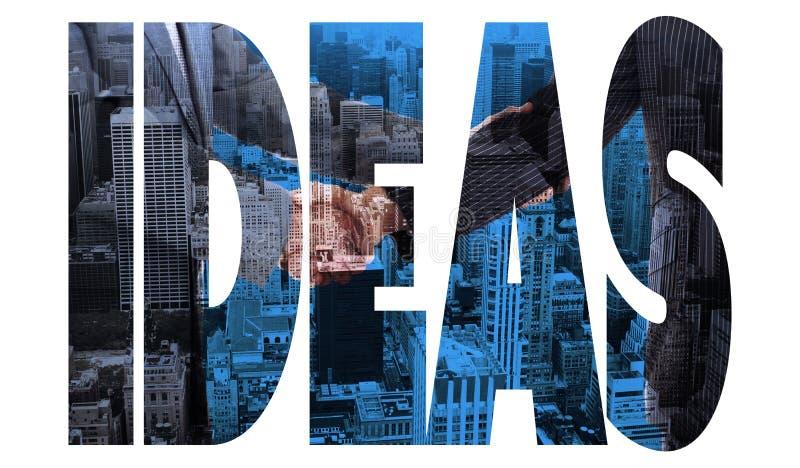 反对城市大角度看法的想法  库存图片