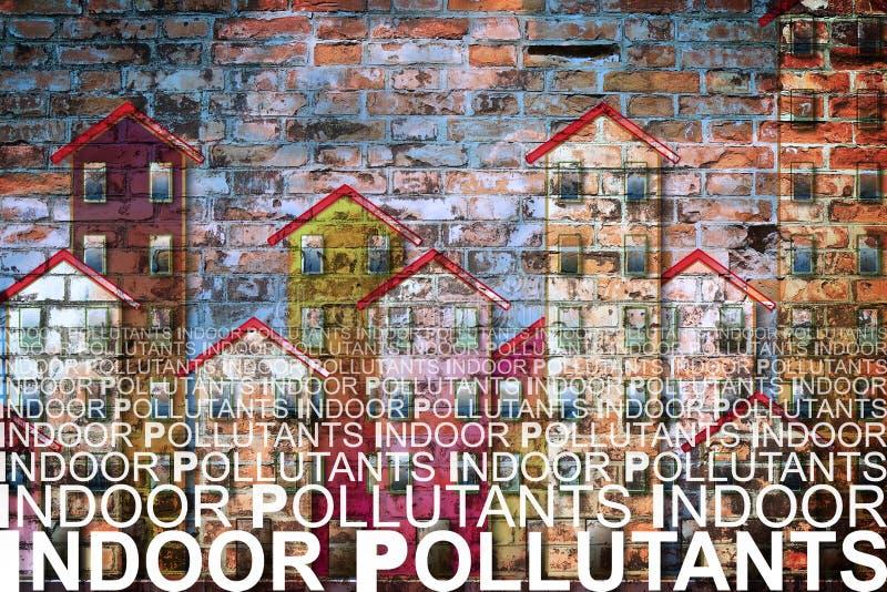 反对大厦背景-概念的室内空气污染物我 库存图片