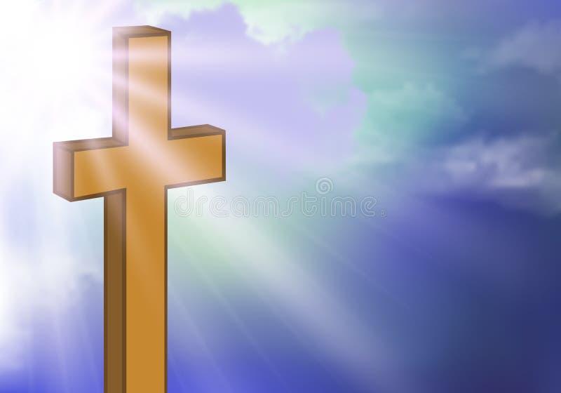 反对天空的木十字架 向量例证