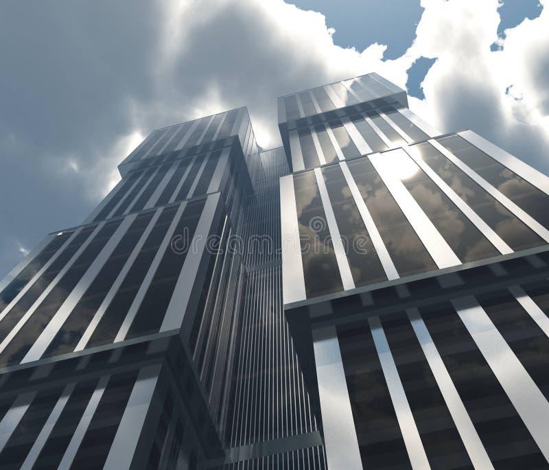 反对天空的美丽的摩天大楼与云彩 库存例证