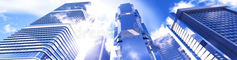 反对天空的美丽的摩天大楼 皇族释放例证