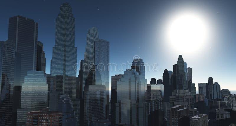 反对天空的美丽的摩天大楼 库存例证