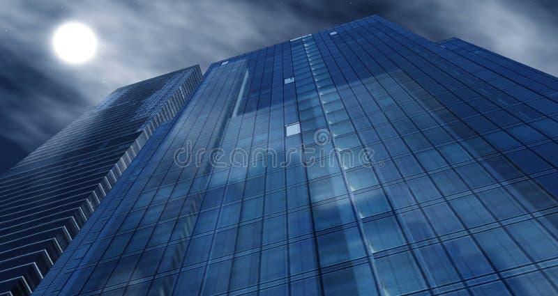 反对天空的美丽的摩天大楼 向量例证
