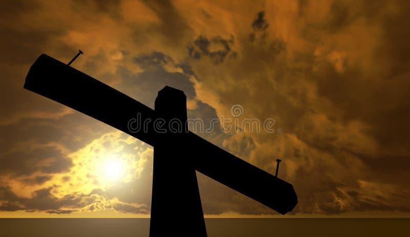 反对天空的黑十字架 免版税库存图片