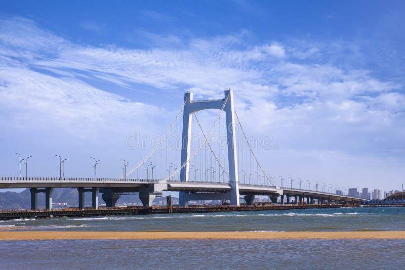 反对天空蔚蓝的大缆绳被停留的桥梁,烟台,中国 免版税库存图片