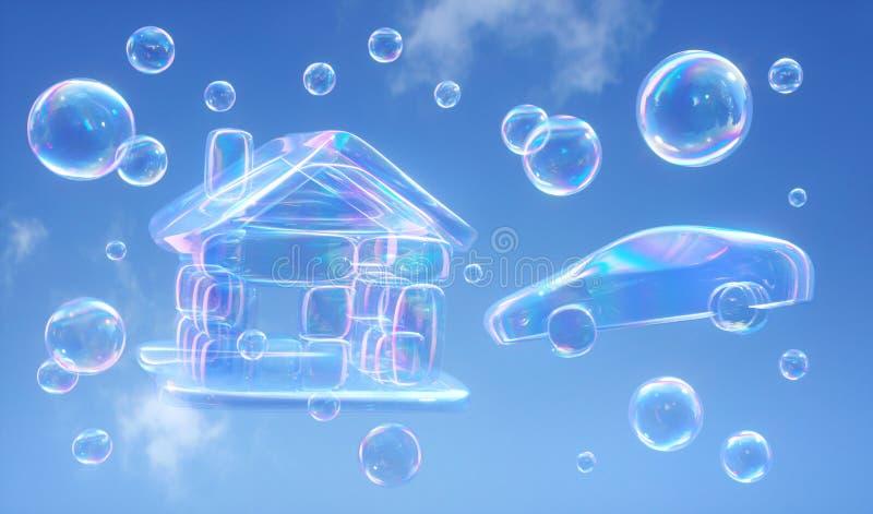 反对天空蔚蓝- 3D的肥皂泡例证 向量例证