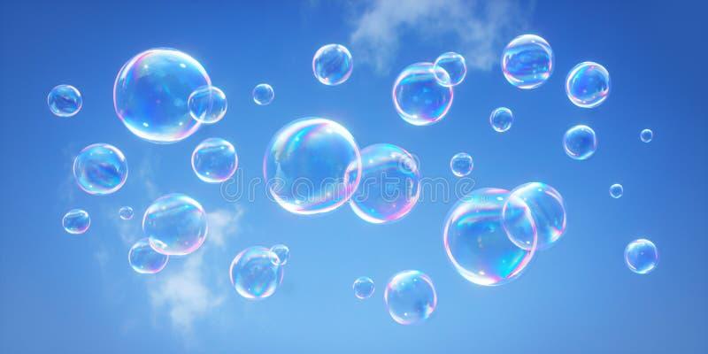 反对天空蔚蓝- 3D的肥皂泡例证 库存例证