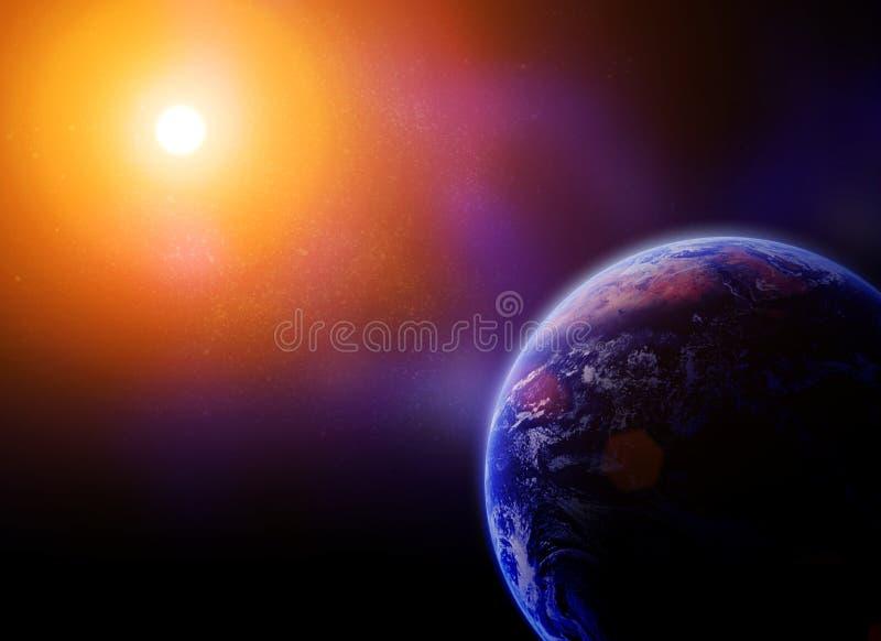 反对太阳的地球在空间 皇族释放例证