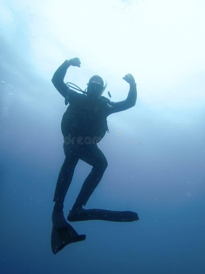 反对太阳的轻潜水员水下的剪影 免版税库存照片