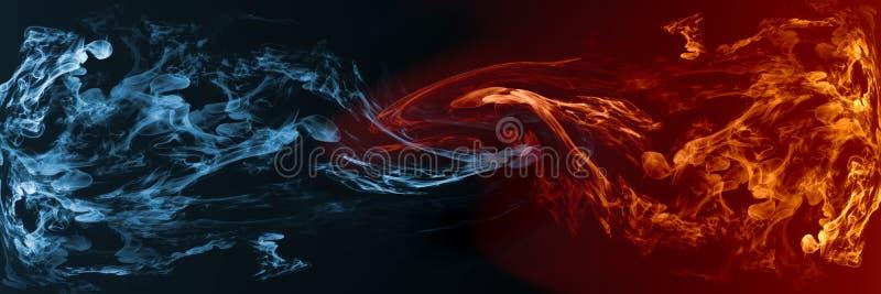 反对对彼此的抽象火和冰元素背景 向量例证