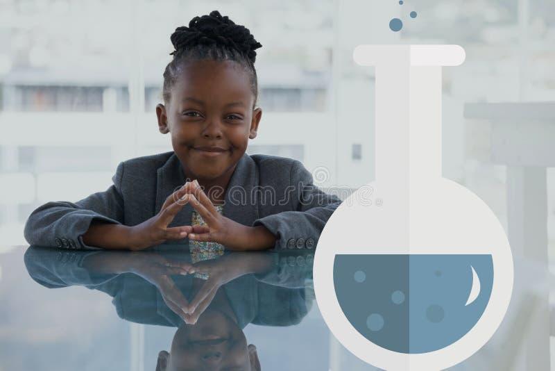反对愉快的办公室孩子女孩背景的科学象 库存例证