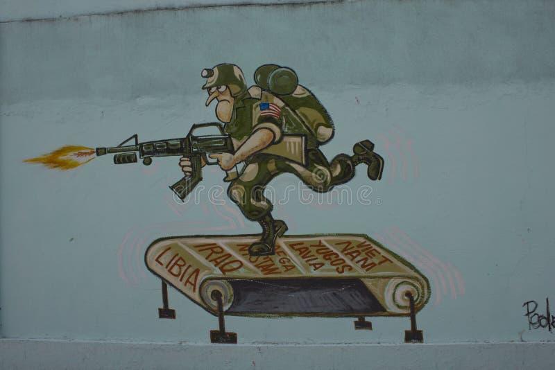 """反对战争†""""圣克拉拉,古巴的Humoristas 向量例证"""