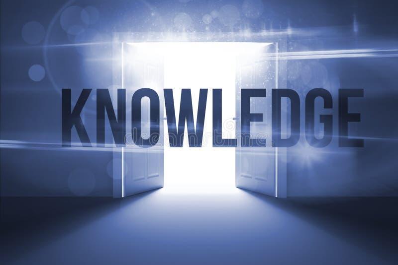 反对打开显露的光的门的知识 向量例证