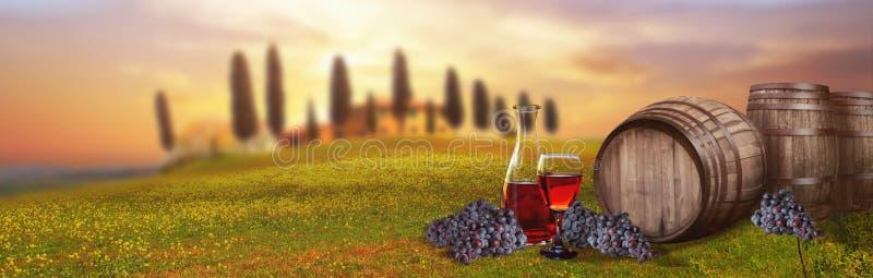 反对托斯坎风景意大利的红葡萄酒桶 免版税库存照片