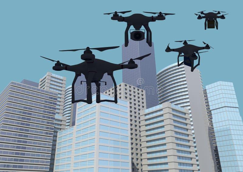 反对摩天大楼城市大厦的最小的3D寄生虫 向量例证