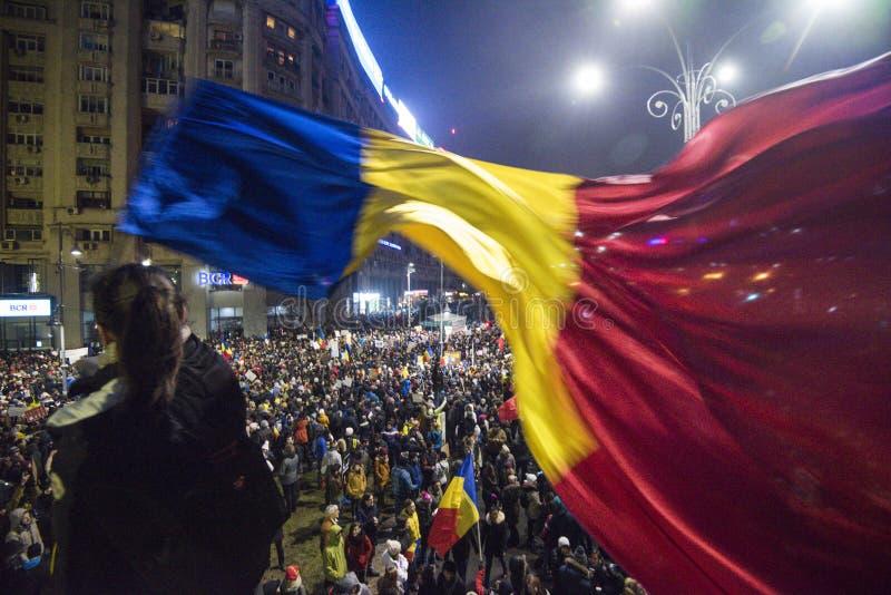 反对政府的布加勒斯特抗议 库存照片