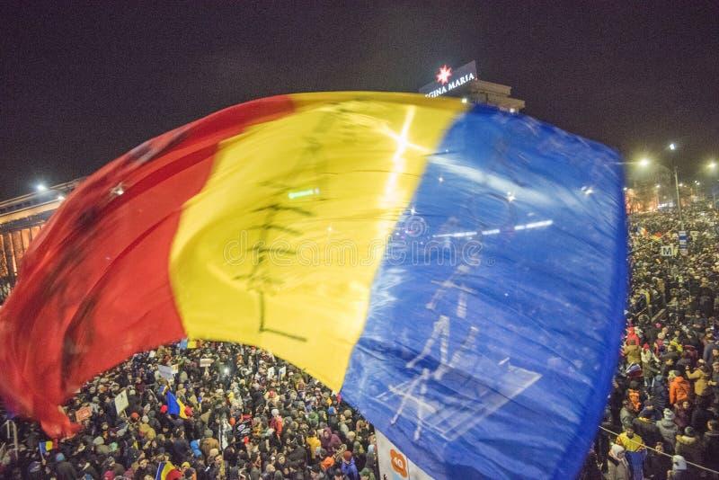 反对政府的布加勒斯特抗议 免版税库存图片