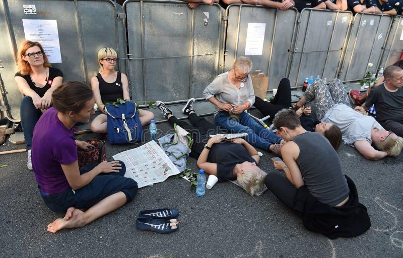 反对政府的抗议在波兰 库存照片