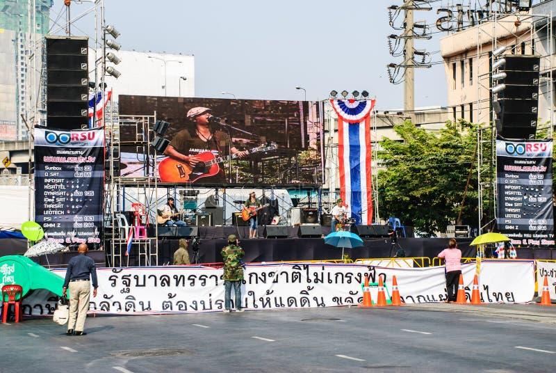 反对政府的泰国抗议者 库存图片