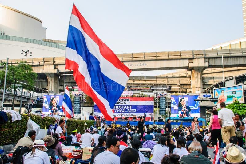 反对政府的泰国抗议者 免版税图库摄影