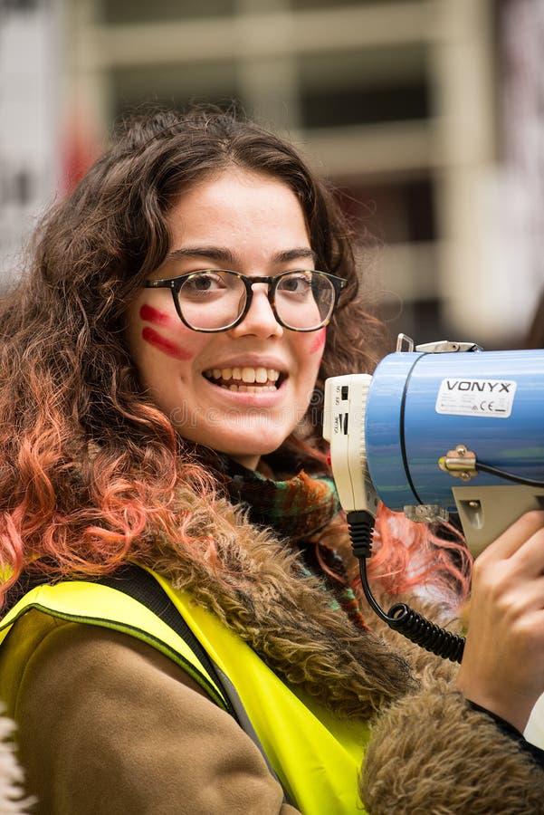 反对教育费和裁减-伦敦,英国的学生抗议 免版税库存照片