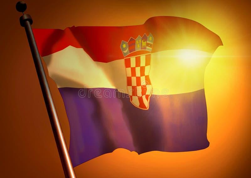反对日落的克罗地亚旗子 库存图片