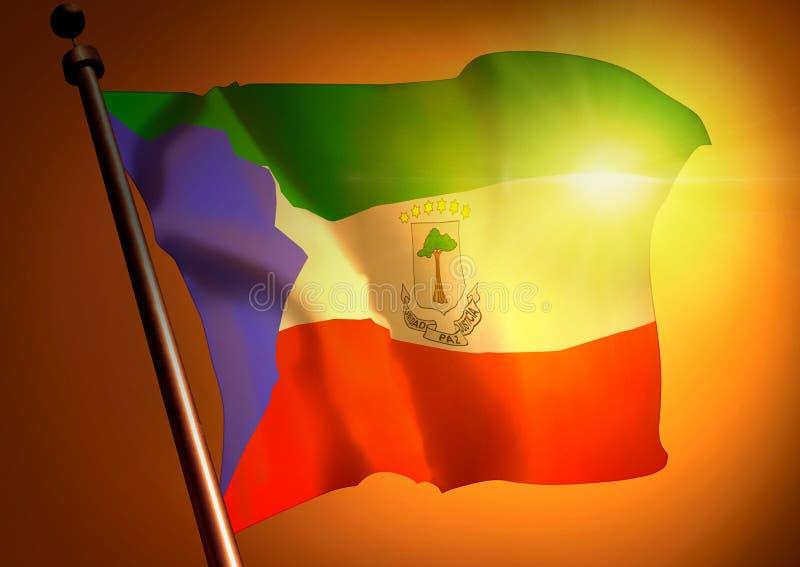 反对日落的几内亚旗子 免版税库存照片